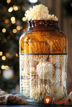 How to bleach pine cones crafts or whatever adornos navideño Nature Crafts, Fall Crafts, Holiday Crafts, Kids Crafts, Christmas Diy, Diy And Crafts, Arts And Crafts, Holiday Decor, Autumn Decorations