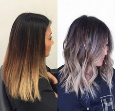 Don't want it to look like the left. Not blond yellow! Brown Hair Balayage, Hair Color Balayage, Hair Highlights, Ash Blonde Balayage, Ash Brown Hair, Hair Color And Cut, Hair Painting, Brunette Hair, Great Hair