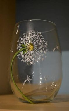Wine Bottle Art, Painted Wine Bottles, Hand Painted Wine Glasses, Painting On Wine Glasses, Decorated Bottles, Dandelion Wine, Dandelion Seeds, White Dandelion, Wine Glass Designs