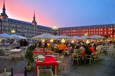 Dining out in one of the hundreds of plazas in Madrid (at 10pm or later!) was one of my favorite things to do in Spain.