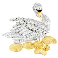 MCTEIGUE Diamond Swan Gold Lily Pads Pin
