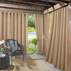 """Sun Zero Beacon Woven Indoor/Outdoor UV Protectant Grommet Curtain Panel, 52"""" x 108"""", Linen"""