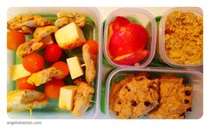 mini chicken kebobs {chicken sauteed in red palm oil and curry seasoning, cheese and tomatoes}, quinoa seasoned with curry, nectarine slices and coconut flour chocolate chip cookies REAL & Balanced. :)
