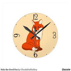 Hala the Good Fox Round Clock - beauty gifts stylish beautiful cool Best Gifts, Fox, Clock, Good Things, Display, Cool Stuff, Artwork, Prints, Beautiful