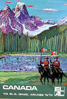 Vintage Travel Poster Canada via ELAL by Peri Circa 1960's