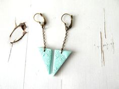 Long triangle earrings mint geometric earrings by ruthreizin, $25.00