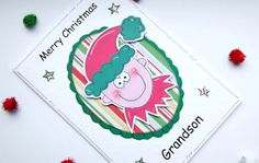 Christmas Card  Elf  Personalised  by CraftyMushroomCards on Etsy