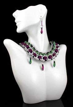 Matching Set. Recycled Pop Tab Necklace with Satin / Beaded Ribbons & Daggers, Royal Purple, Fuscia, Emerald Green - Niobium Earrings