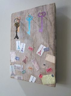 Stencil1 DIY - Found wood becomes stenciled and decoupaged key holder.