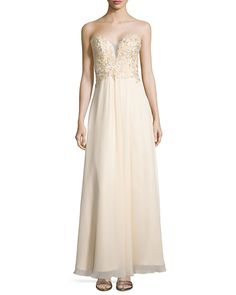 Strapless Beaded Chiffon Gown, Champagne