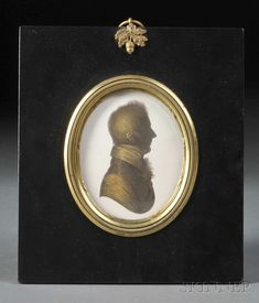 John Miers (English, c. 1758-1821)     Profile Portrait Miniature, early 19th century, with gilt accents to silhouette, framed, portrait ht. 3 1/4 in.
