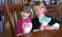 Owls made out of toilet paper rolls from Family Fun magazine