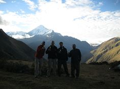 """Andrew Rife, """"Tiempo por Cusquena en las Montanas, Having a Drink with our Fellow Hikers with a One in a Million View"""""""