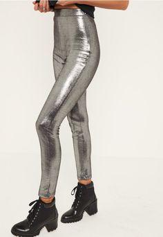 grey glitter effect faux suede legging