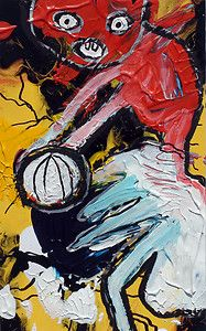 original LABEDZKI abstract outsider art VOLLEYBALL 5x8 in mixed media on paper