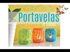 Cómo hacer un Portavelas colorido al crochet | Crochet.eu Knit Patterns, Glass Vase, Knitting, Blog, Diy, Youtube, Wedding, Glass Candle, Diy And Crafts