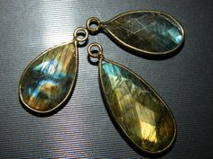 3 Piece SetFramed Blue Flashy Labradorite by GemsPebblesandBeads, $18.78