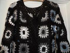 bbd7e7c77 Crochet granny square gipsy hippie boho black gray by krittenart Casaco  Cinza