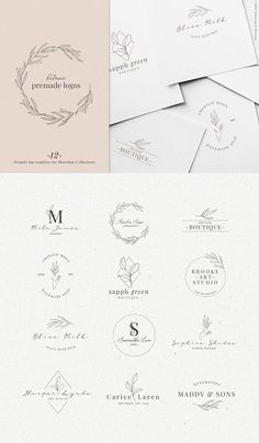A lovely collection of Botanic premade logos. These easy to edit logos will look gorgeous on all your branding and are perfect for small business like wedding Wedding Logo Design, Wedding Logos, Wedding Branding, Illustration Simple, Edit Logo, Candle Packaging, Premium Logo, Jewelry Logo, Jewelry Branding