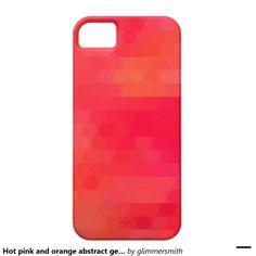 Hot pink and orange! Geometric triangle mosaic iPhone case.