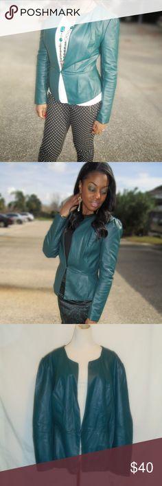 "Primadonna Style Dark Teal Jacket NWT Dark Teal/ Green Jacket 48"" Bust, 24"" Long, 26"" Sleeve 1 snap closure, Faux Leather  No pockets, Sz. 3x Elle Jackets & Coats Blazers"