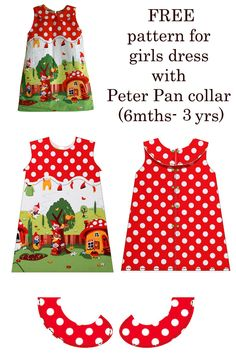 This cute dress with a Peter Pan collar fits size 6 mths to Free baby girl dress sewing pattern. Free sewing pattern for a toddlers dress. Easy dress sewing pattern for girls. Baby Dress Pattern Free, Little Girl Dress Patterns, Baby Girl Dress Patterns, Baby Clothes Patterns, Toddler Sewing Patterns, Dress Sewing Patterns, Sewing For Kids, Free Sewing, Coat Patterns