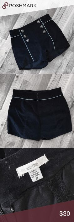 Ecote High Waist velvet shorts Perfect piece for all kinds of outfits. I love wearing these bad boys with tights and a pair of my favorite heels. Very dark blue Ecote Shorts