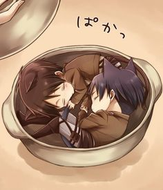 SO CUTEEEEEEEEE AW MY LOVES *die* Eren and Levi chibi, Ereri // Shingeki no Kyojin