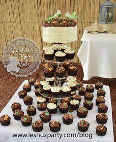Mini tarta con cupcakes pajaritos - Little bird mini cake and cupcakes