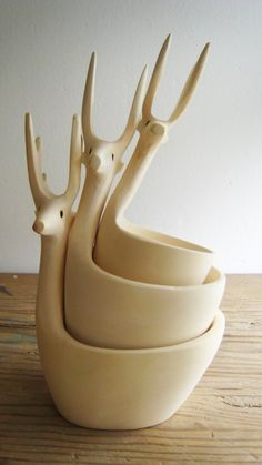 Nesting deer bowls  So beautiful - but I would be afraid to drop them and have the head fall off.