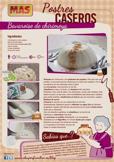 Bavaroise de Chirimoya Chilean Recipes, Chilean Food, Tasty, Yummy Food, Cookies And Cream, Food Illustrations, Cakes And More, Nom Nom, Food And Drink