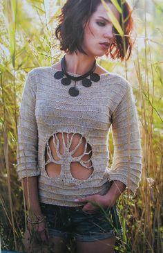 Hand knit tree cutout motif top, BANDofTAILORS, Etsy