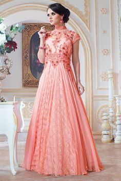 Peach, georgette anarkali gown with price $148.46.Andaaz fashion presents new arrival.Embellished with embroidered, resham, zari, stone and hand.It is perfect for festival wear, party wear and wedding wear. http://www.andaazfashion.us/womens/gowns/occasion/wedding-wear