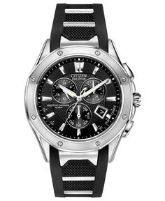 Citizen Men's Eco-Drive Signature Octavia Perpetual Chronograph Stainless Steel and Black Polyurethane Strap Watch 42mm BL5460-00E