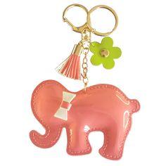 Elefante de charol con borla flor y lacito