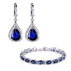GULICX Silver Tone Sapphire Color Blue Cubic Zircon Jewellery Set Leverback Drop Earrings Bracelet Chain: Amazon.co.uk: Jewellery