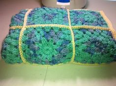 'Sea Teal and Purple Crocheted Granny Square Afghan' is going up for auction at  9pm Fri, Sep 7 with a starting bid of $30.