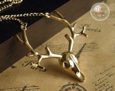 bright gold elk deer antlers necklace