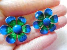 Enamel Flower Power Daisy Clip On Earrings by SheerTrashRoadshow