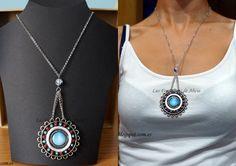 Collar pintado y rellenado a mano (por mí) con pieza central redonda de resina turquesa.Con cadena plateada y cierre de mosquetón.