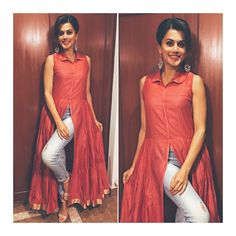 Tapsee Pannu in a stylish Myoho top and earrings from Ritika Sachdeva for a talk at Abbot Indian Fashion Designers, Indian Designer Outfits, Designer Dresses, Indian Dresses, Indian Outfits, Indian Clothes, Kurta Designs, Blouse Designs, Elegant Saree