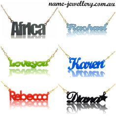 Acrylic Name Necklaces on Name Jewellery - huge range of styles and colours