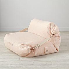 Shop Kids Pink Bean Bag Bed Chair.  It's a bean bag chair.  It's a floor cushion.  Wait, it's both? Our adjustable bean bag chair does double duty, thanks to the unique design. #BeanBagChair