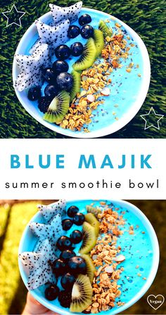 Majik Summer Smoothie Bowl - Sister Chives The ultimate Summer Smoothie Bowl - Blue Majik- Vegan - Yummy - check it out here !The ultimate Summer Smoothie Bowl - Blue Majik- Vegan - Yummy - check it out here ! Smoothie Bowl Vegan, Smoothie Proteine, Smoothie Recipes, Homemade Smoothie Bowl, Juicer Recipes, Smoothie Cleanse, Strawberry Smoothie, Shake Recipes, Juice Cleanse