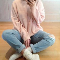 this pic isn't mine i screenshotted it a while back but now its gone from the source i got it from :( pastel pink knit sweater with denim blue boyfriend jeans and white socks!!! ;D