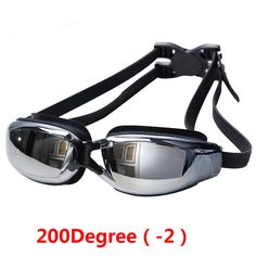 New Prescription Myopic Swimming Goggles Black From 0 till 9.0 with Deluxe Case