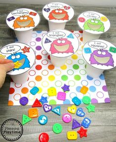 preschoolprintables planningplaytime activities preschool monster shapes shape cups Preschool Shapes Activities Shape Monster CupsYou can find Shapes activities and more on our website Preschool Lessons, Preschool Learning, Educational Activities, Classroom Activities, Learning Activities, Toddler Activities, Preschool Activities, Preschool Shapes, 2d Shapes Kindergarten