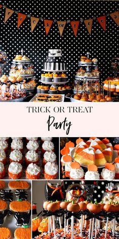 Trick or Treat Halloween Party Halloween Food For Party, Halloween Desserts, Halloween Birthday, Diy Halloween, Halloween Treats, Happy Halloween, Halloween Decorations, Pretty Halloween, 4th Birthday
