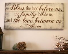 Bless The Food Before Us Wood Kitchen Sign Dining Room Pallet Rustic Chic