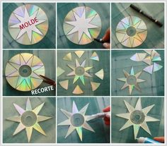 Christmas Stars from Old CD Discs